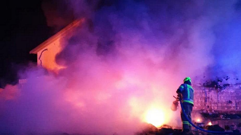 Pożar opuszczonego tartaku w Trzebiszewie