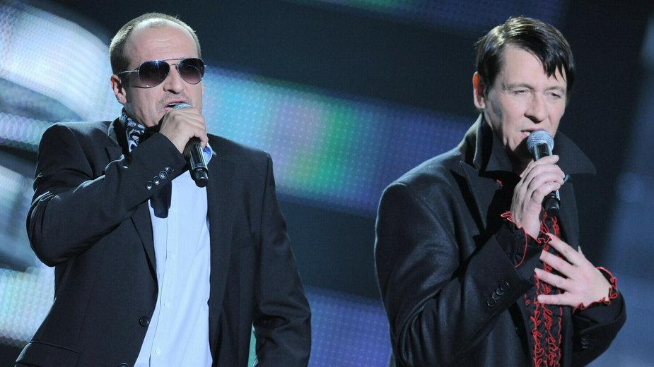 Paweł Kukiz i Maciej Maleńczuk na koncercie w Opolu w 2010 r.