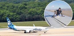 Mężczyzna wyszedł na skrzydło samolotu tuż przed startem. Pasażerowie w szoku