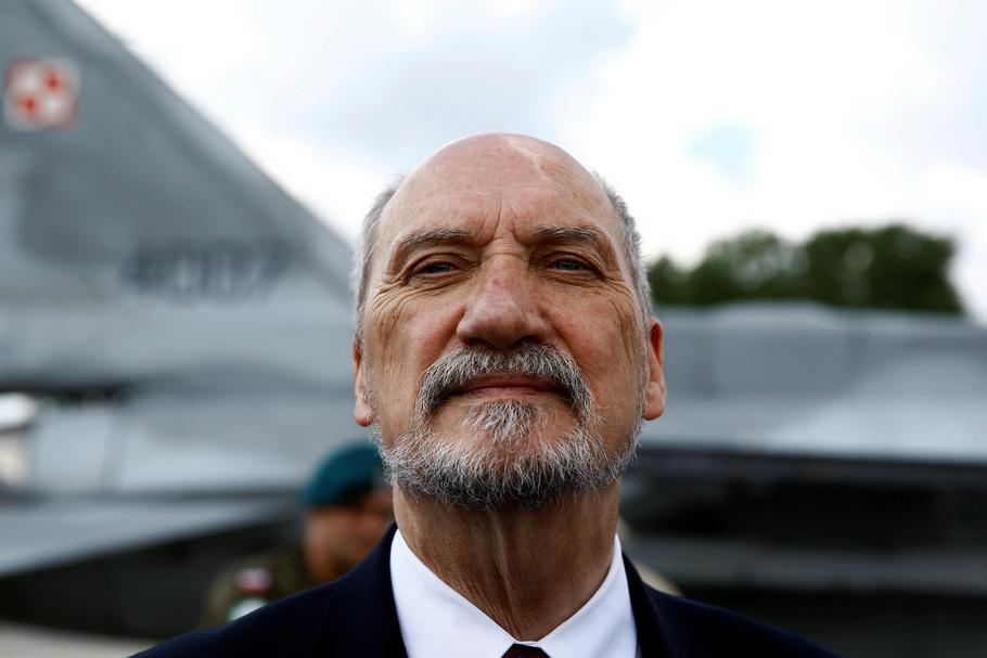 Polish Defence Minister Macierewicz speaks during a news conference at a send-off ceremony for Polish military contingent to support the coalition against Islamic State at the 23rd Air Base in Janow near Minsk Mazowiecki