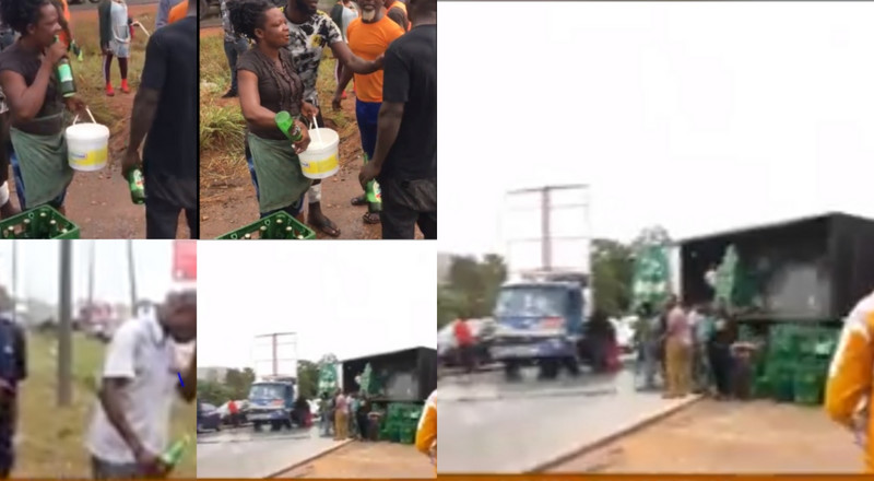 Beer lovers drink early morning at motorway accident scene, woman fills her bucket (videos)