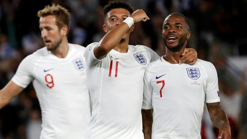 Talented trio: Harry Kane (left), Jadon Sancho (centre) and Raheem Sterling (right) have scored 14 goals in four Euro 2020 qualifiers
