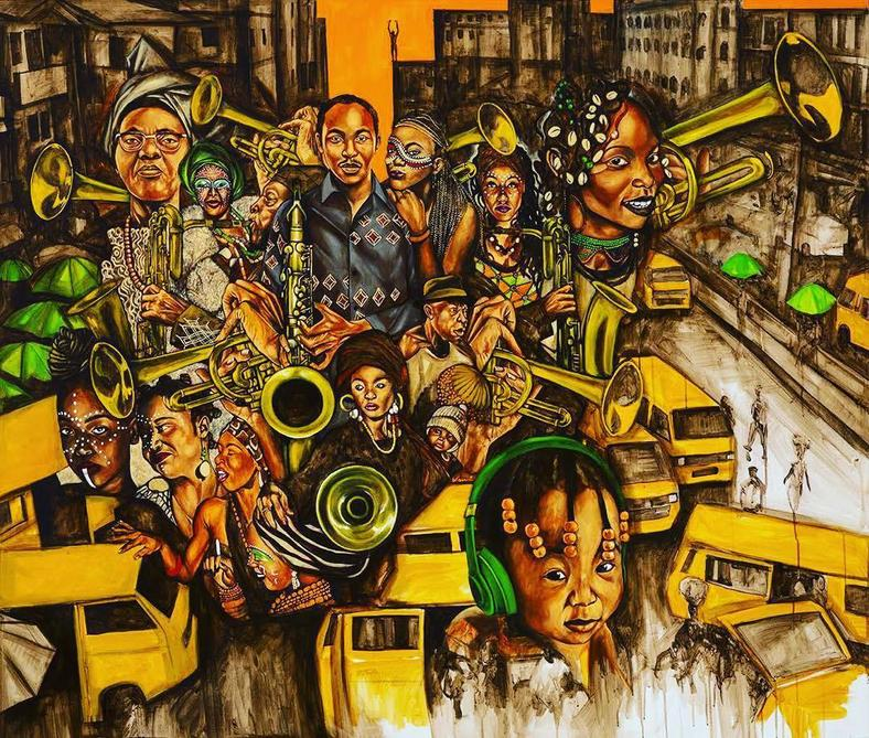 A painting of Seun Kuti, his grandmother, his daughter and Afrobeat dancers (Instagram/Seun Kuti)