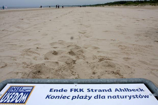 Świnoujście-Ahlbeck, oznaczenie plaży dla naturystów