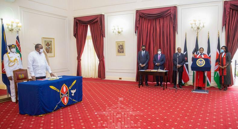 President Uhuru Kenyatta during Chief Justice Martha Koome's swearing-in at State House