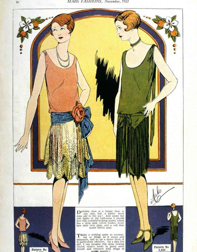 Modna skica iz ženskog časopisa uz koji je išao i krojni šnit za haljinu