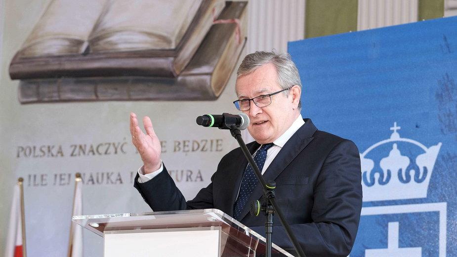 Wicepremier Piotr Gliński podczas konferencji inaugurującej działalność uczelni Ordo luris
