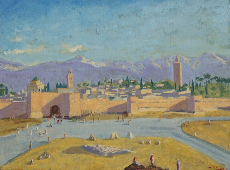 """Winston Churchill, """"Tower of the Booksellers mosque"""" (1943)"""