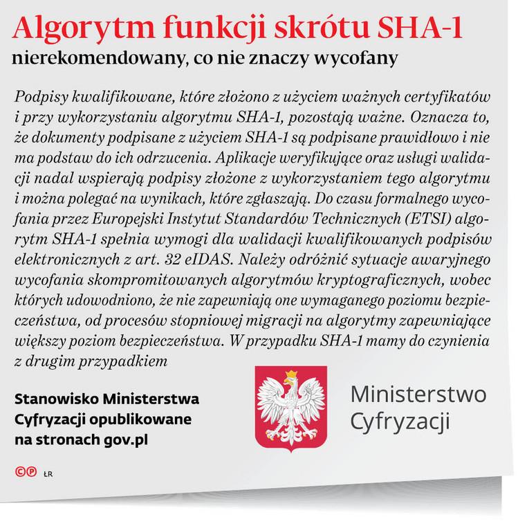 Algorytm funkcji skrótu SHA-1 nierekomendowany, co nie znaczy wycofany