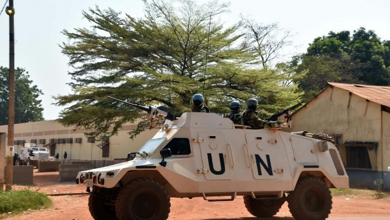 United Nations peacekeepers are seen patrolling an area in Bangui, the capital of the Central African Republic