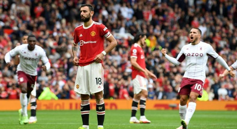 Manchester United midfielder Bruno Fernandes missed a penalty against Aston Villa Creator: Paul ELLIS