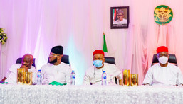 Governor Hope Uzodinma hosts Muslims to Eid-el-Fitr banquet in Imo. [Twitter/@Hope_Uzodimma1]