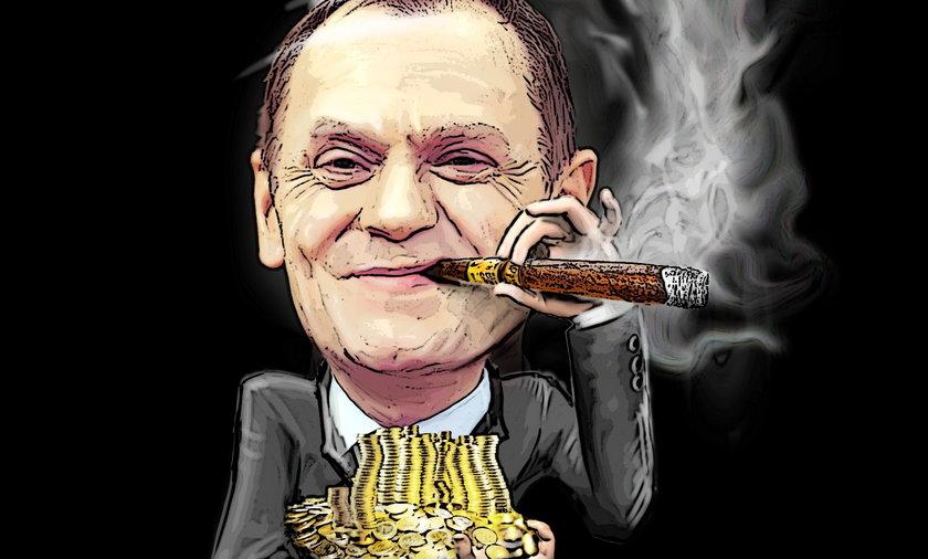 Donald Tusk na worku pieniędzy