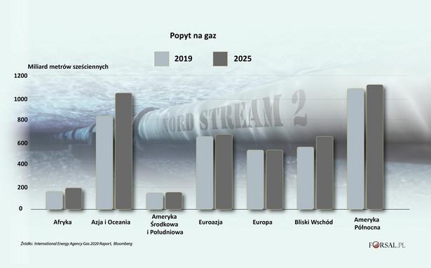 Popyt na gaz wg regionów