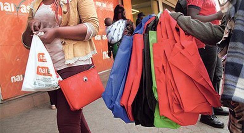 A hawker selling nonwoven shoping bags