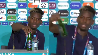 Watch: Paul Pogba removes Heineken beer during press conference due to Muslim beliefs