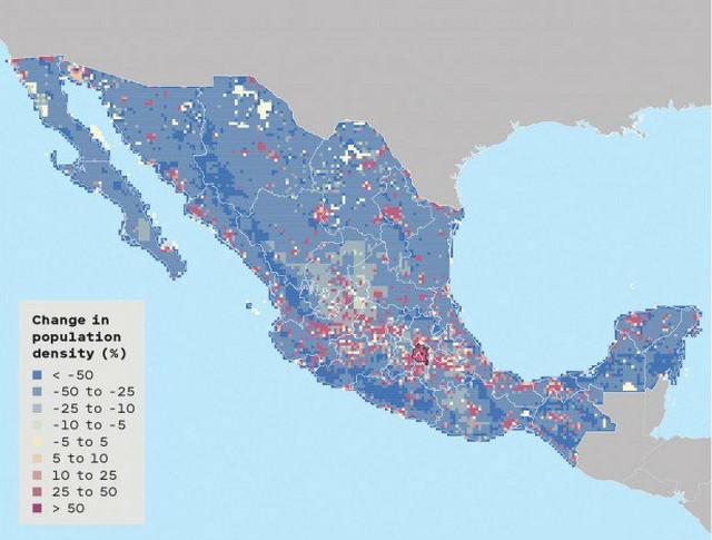 Promene u gustini naseljenosti: Meksiko