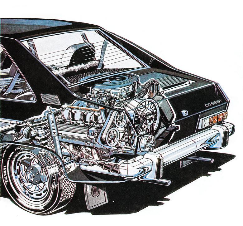 Usytuowanie układu napędowego samochodu Tatra 613.