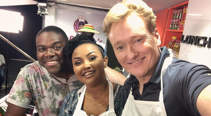 YouTubers say Nana Ama McBrown treated Conan O'Brien like her child on McBrown's Kitchen