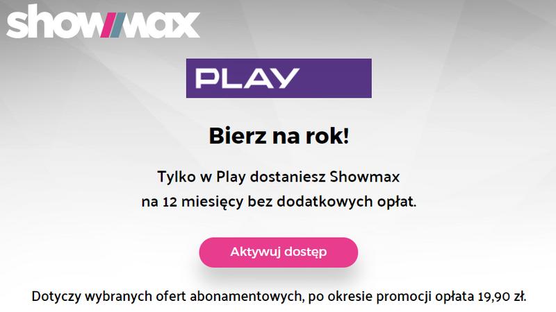 Roczny dostęp do Showmax dla abonentów Play
