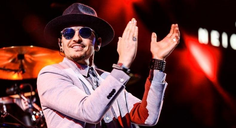 Chester Bennington of Linkin Park performs on stage at the iHeartRadio Album Release Party.