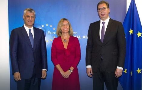 Hašim Tači, Federika Mogerini i Aleksandar Vučić