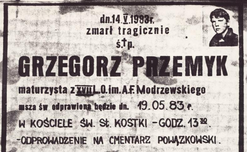 Klepsydra Grzegorza Przemyka (fot. autor nieznany)