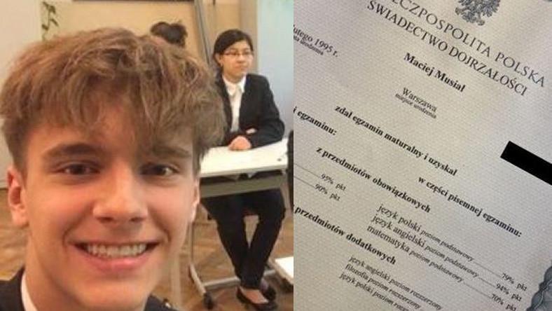 Maciej Musiał pokazał wyniki matury