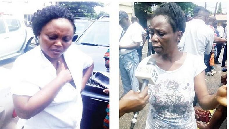 The kidnap suspects, Believe Enyolam and Agatha Aigbomiam