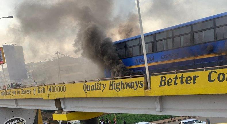 Nyamira Express bus on fire (Courtesy)