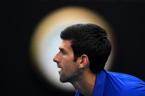 Novak Đoković na meču 1. kola Australijan opena 2019.