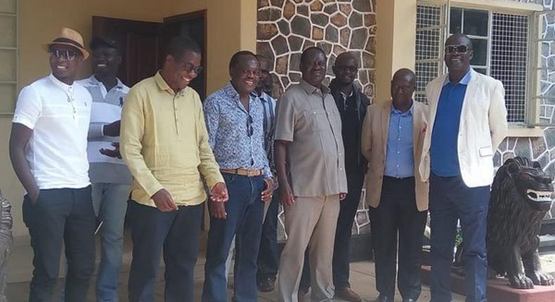 ODM leader Raila Odinga with some of the guests he hosted at his Opoda farm