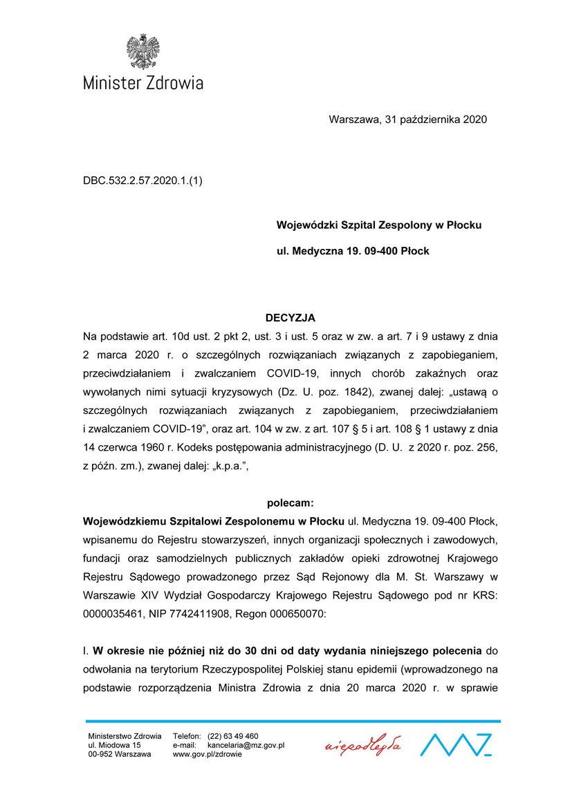 Decyzja ministerstwa zdrowia ws. organizacji szpitala w Płocku