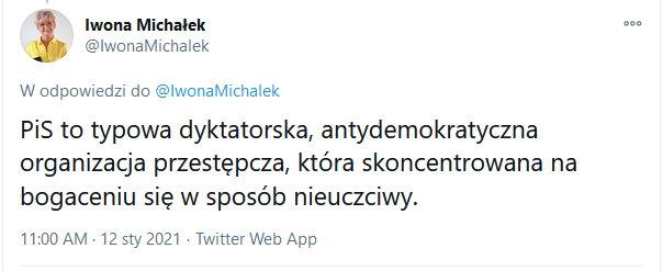 Drugi z wpisów opublikowanych na koncie wiceminister Iwony Michałek