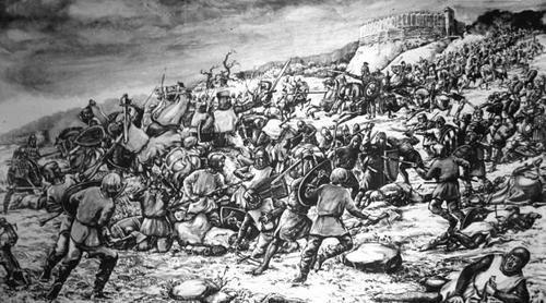 """Obraz Ludwika Piosickiego """"Bitwa pod Cedynią"""" w Muzeum Regionalnym"""