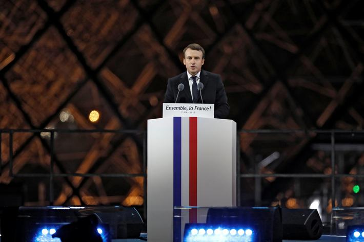 President elect Emmanuel Macron speaks at his victory rally near the Louvre in Paris