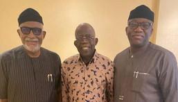 From L-R: Gov Akeredolu of Ondo, Tinubu and Gov Fayemi of Ekiti (Daily Post)