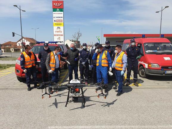 Kraljevo dezinfekcija ulica pomoću drona
