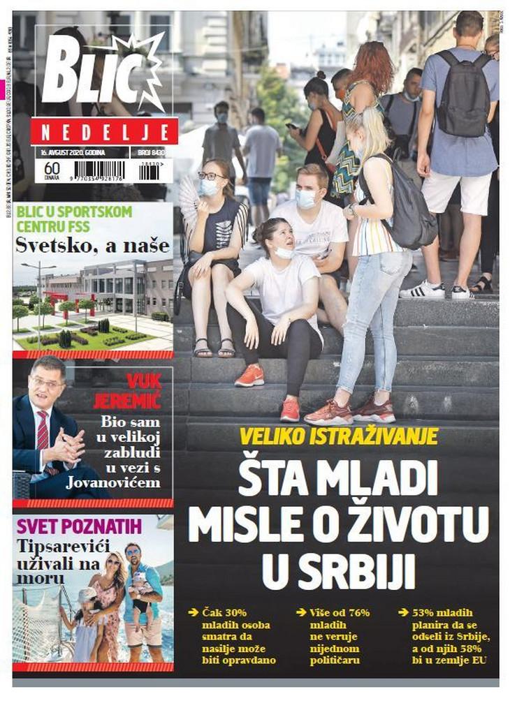 Blic, naslovna za 16.08.2020.
