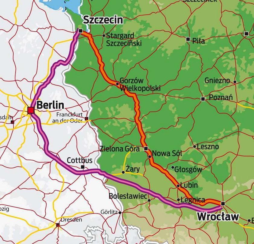Przez Niemcy szybciej niż przez Polskę