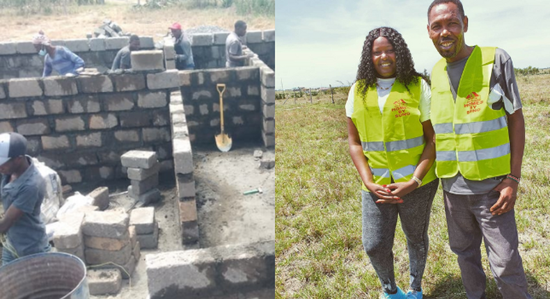 Kathy Andrew and Omosh. Omosh show off progress of the three-bedroom Houses he is being built