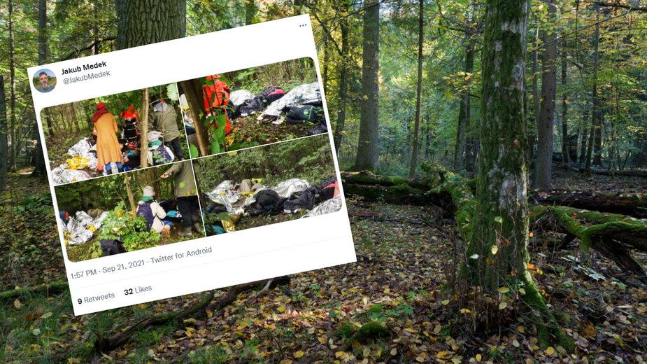 Przemoczeni i zziębnięci mężczyźni zostali znalezieni w lesie przez grupę aktywistów (Fot. Twitter/Jakub Medek)