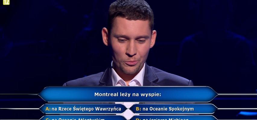 """""""Milionerzy"""": zawodnik odpadł na pytaniu o Montreal!"""