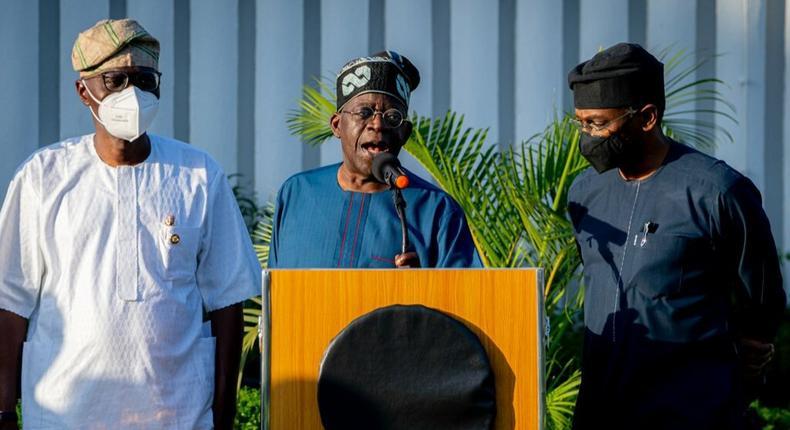 L-R: Lagos State Governor, Mr. Babajide Sanwo-Olu; APC National Leader, Asiwaju Bola Tinubu and Speaker, House of Representatives, Rt. Hon. Femi Gbajabiamila during APC South West Leaders meeting at the Government House, Marina, Lagos, on Sunday, May 23, 2021. [Twitter/@jidesanwoolu]