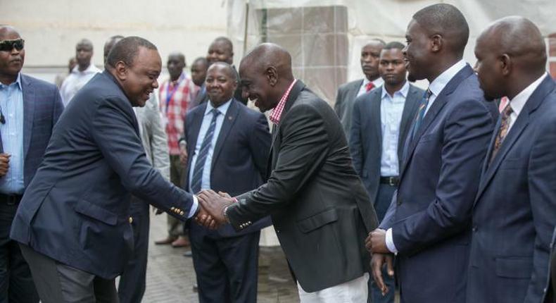 President Uhuru Kenyatta met with his deputy, William Ruto at Africa Inland Church (AIC) Milimani