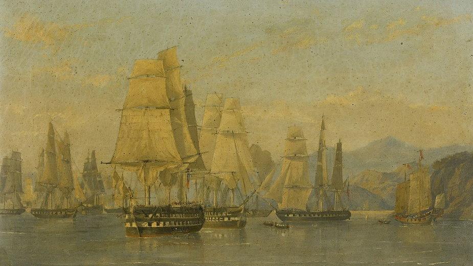 HMS Wellesley i brytyjska eskadra płynące z Hongkongu do ataku na Amoy w 1841 r.