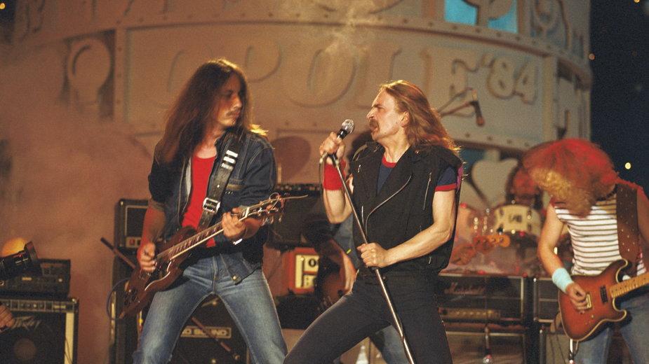 Opole, 1984 r. XXI Krajowy Festiwal Piosenki Polskiej. Na zdjęciu: Stefan Machel i Marek Piekarczyk z zespołu TSA