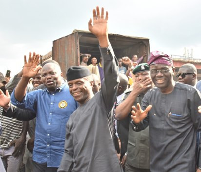 Vice President Yemi Osinbajo with incumbent Lagos Governor Ambode and Governor-elect Sanwo-Olu (The Nation)