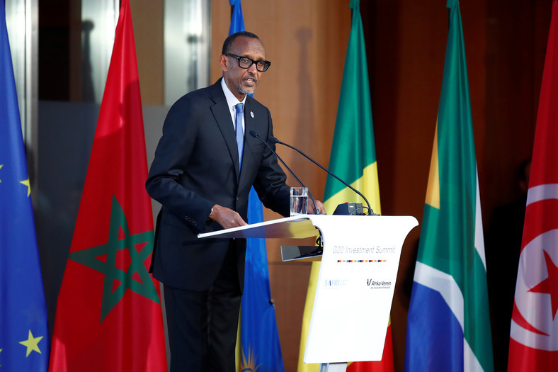 Rwanda's President Paul Kagame addresses the G20 Compact with Africa Conference in Berlin.