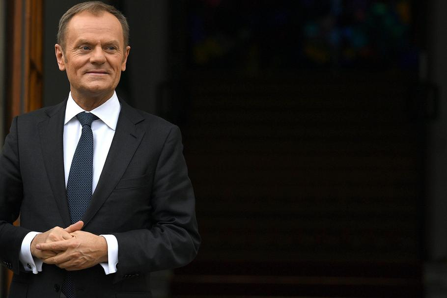 President of the European Council Donald Tusk waiting outside Government buildings in Dublin